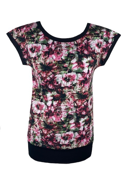 T-shirt Carri Bordo/Green Flowers and Black