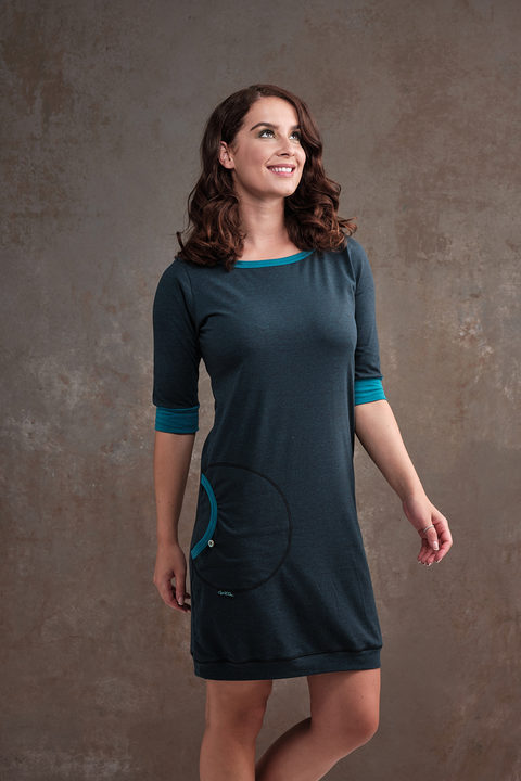 Dress Cejlon Petrol Melange and Turquoise Melange