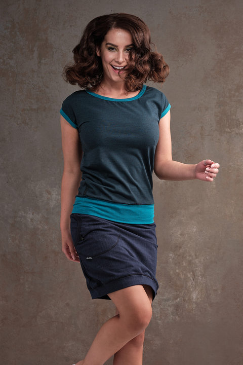 T-shirt Carri Petrol Melange and Turquoise Melange