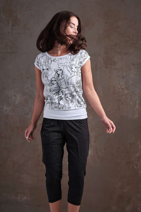 T-shirt Carri White/Black Fashion Girl and White