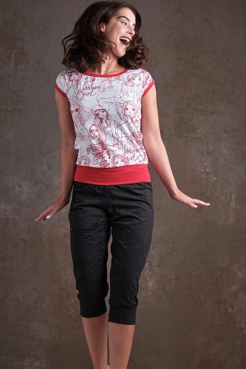T-shirt Carri White/Red Fashion Girl and Red
