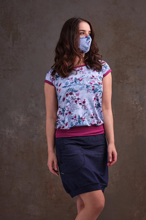 T-shirt Carri Blue/Pink Rosehips and Fuchsie