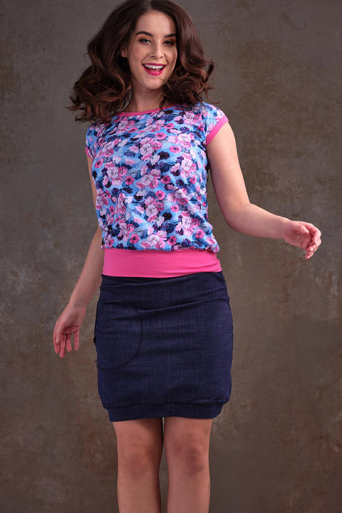 T-shirt Carri Light Blue/Pink Flowers and Pink