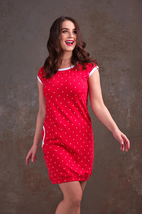 Dress Cejlon 2 Red/White Big Dots and White