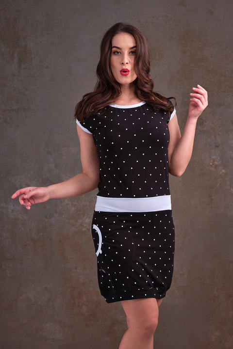 Dress Black/White Big Dots and White