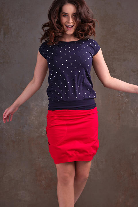 T-shirt Carri Dark Blue/White Big Dots