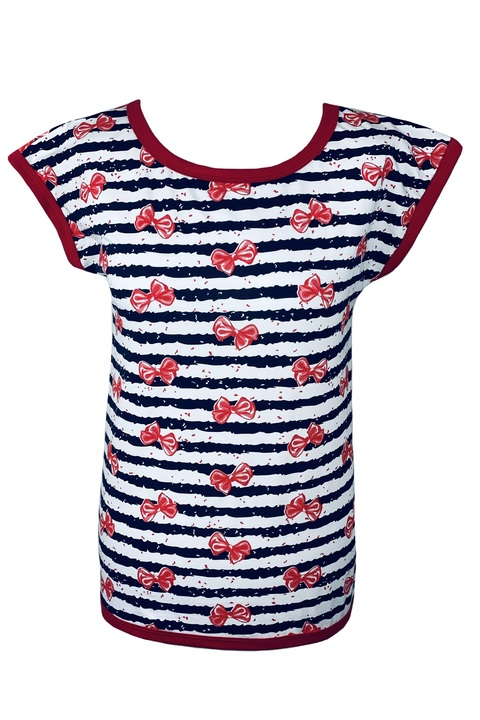 T-shirt Maui Blue/White Stripes and Red Bow