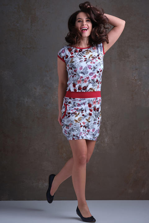Nursing Dress Gray/Red Rosehips and Brick Red