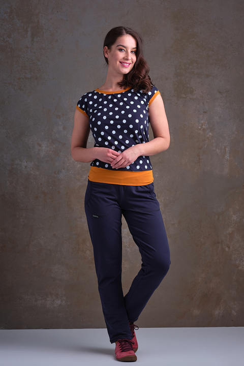 T-shirt Carri Blue/White Dots and Mustard