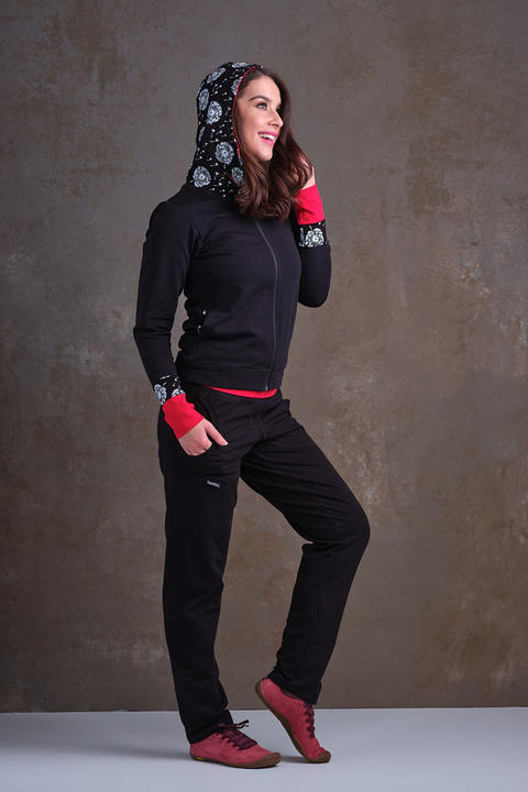 Hoodie Zipper Black and Black Dandelions Fluf/Red