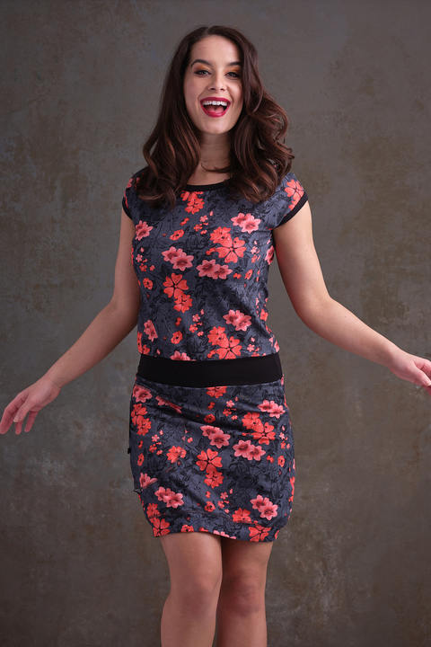 Nursing Dress Black and Flowers Salmon