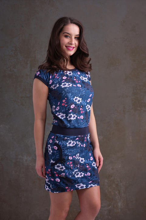 Nursing Dress Blue and Pink Flowers