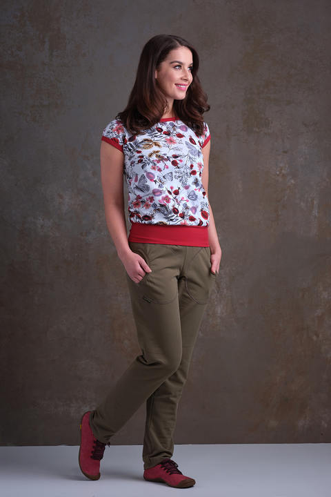 T-shirt Carri Gray/Red Rosehips and Brick Red