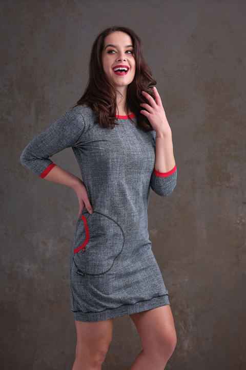 Dress Cejlon Gray/Black Structure and Red