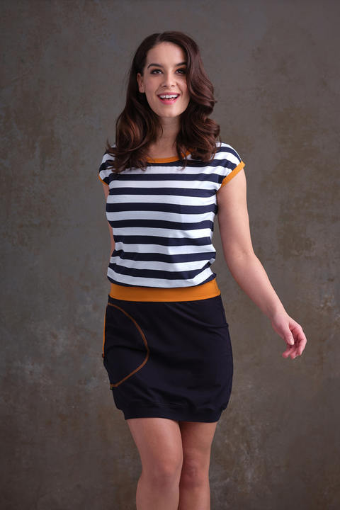 Dress Blue and Blue/White Big Stripes/Mustard