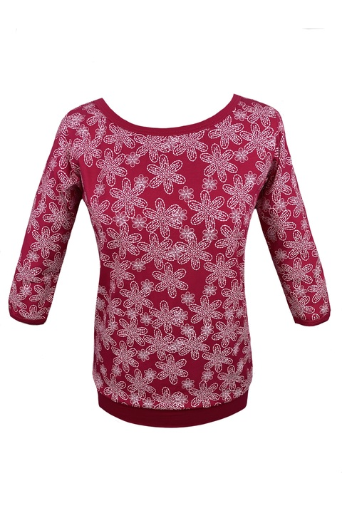 Tucked 3/4 Sleeve Magenta/White Flowers