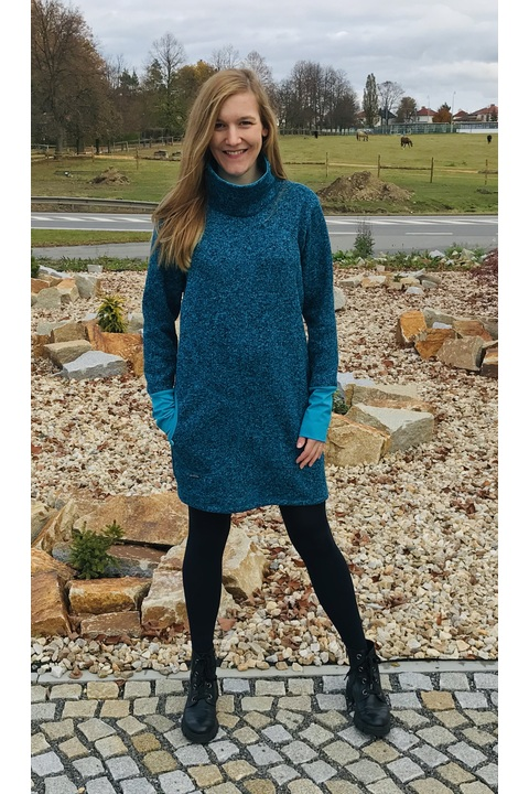 Tunic Warm Collar Turqouise Melange and Turquoise
