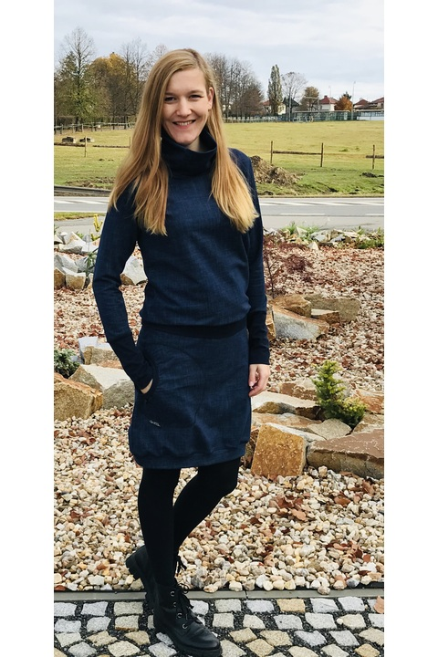 Dress Carrie Long Sleeve Blue Jeans