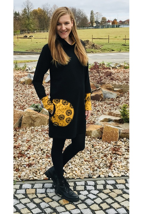 Hoodie Long Collar Black and Mustard Dandelions Fluff