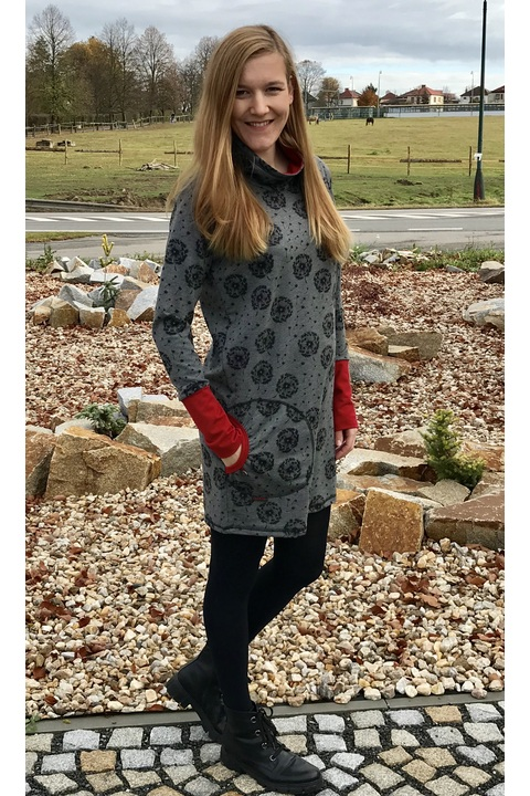 Hoodie Long Collar Gray/Black Dandelions Fluff and Red