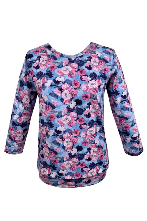 Tucked 3/4 Sleeve Light Blue/Pink Flowers