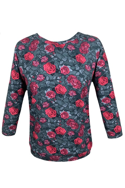 Tucked 3/4 Sleeve Gray/Red Roses