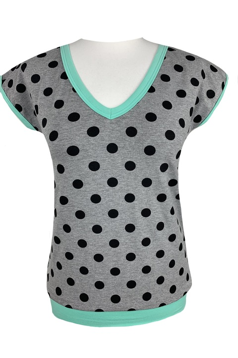 Tucked V Gray/Black Dots and Mint