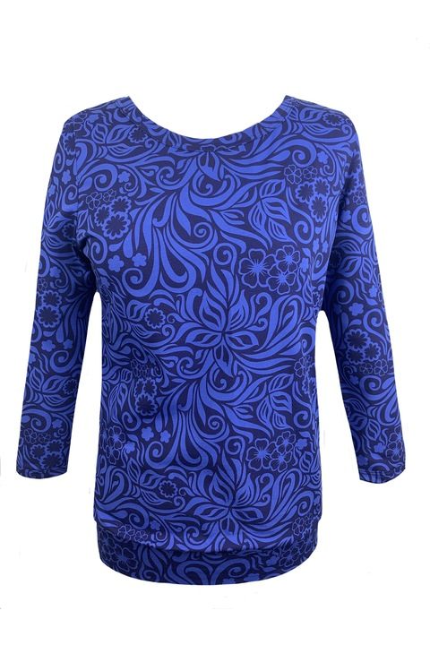 Tucked 3/4 Sleeve Royal Blue Jungle