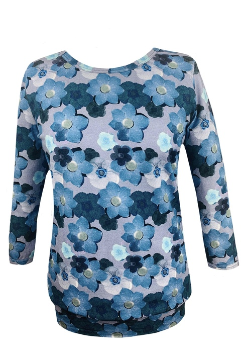 Tucked 3/4 Sleeve Blue Flowers