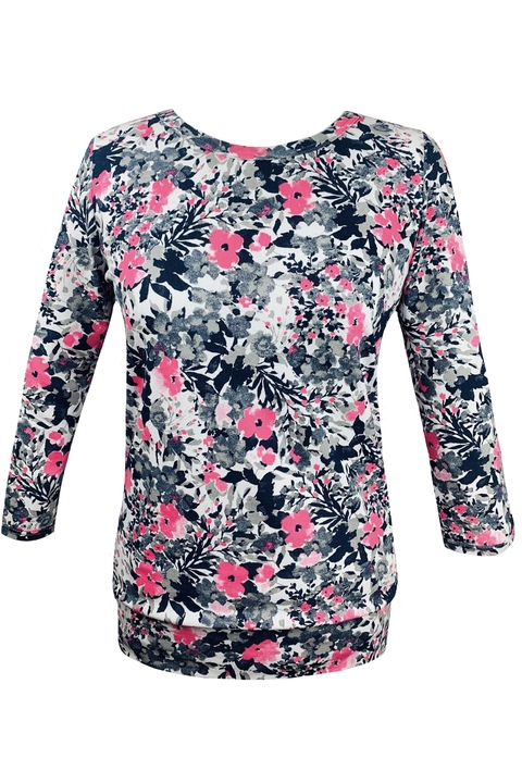 T-shirt 3/4 Sleeve Gray/Pink Flowers