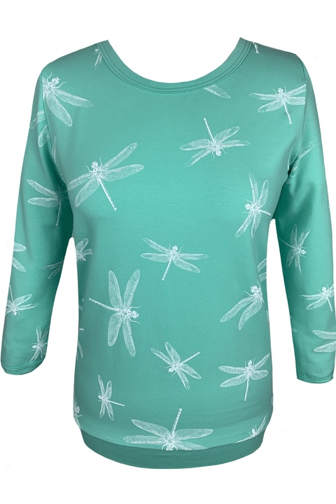 T-shirt 3/4 Sleeve Mint/White Dragonfly