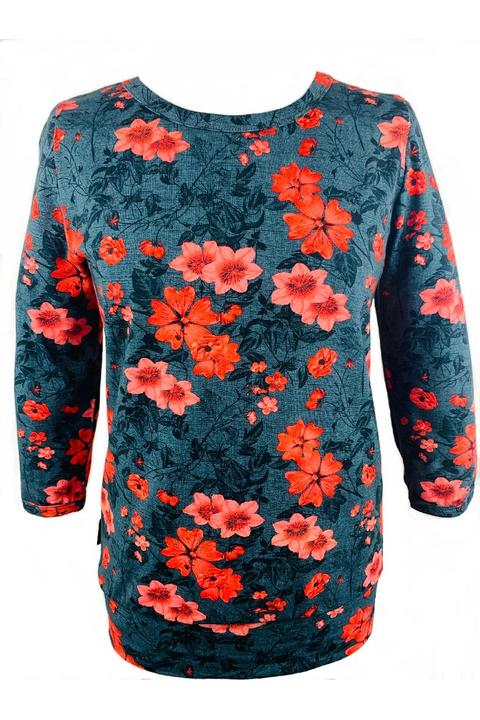 Tucked 3/4 Sleeve Black and Salmon Flowers
