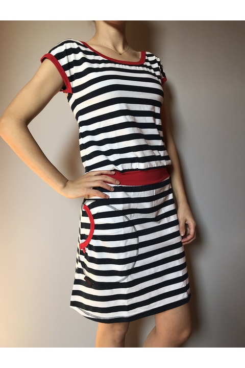 Dress Bell Blue/White Big Stripes and Red-SLEVA