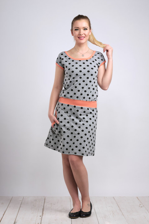 Dress Bell Gray/Black Dots and Peach