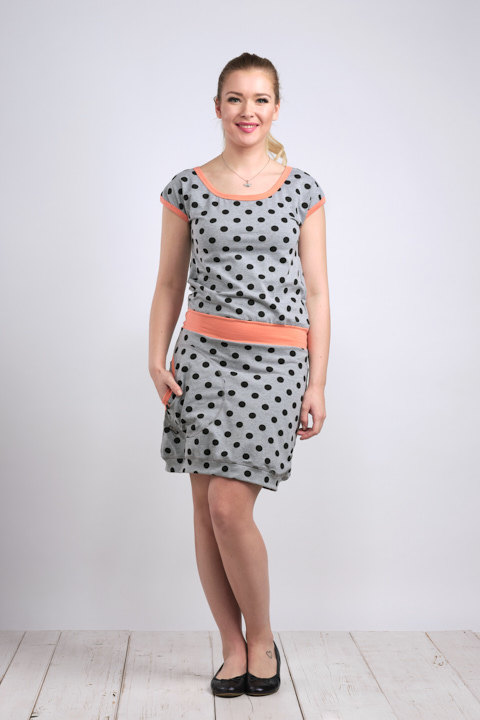 Dress Bali Gray/Black Dots and Peach-SLEVA