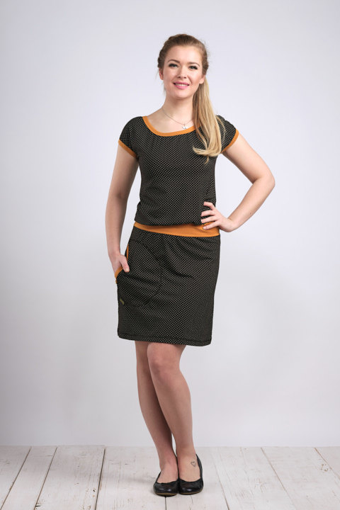 Dress Bell Black/Gray Dots and Dark Mustard