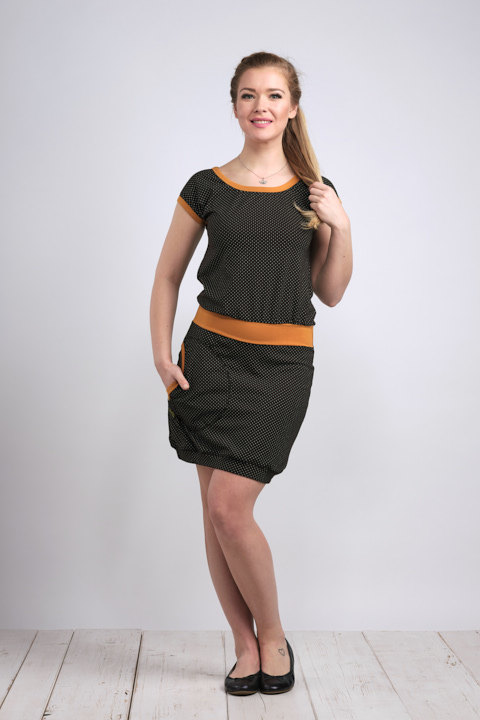 Dress Bali Black/Gray Dots and Dark Mustard-SLEVA