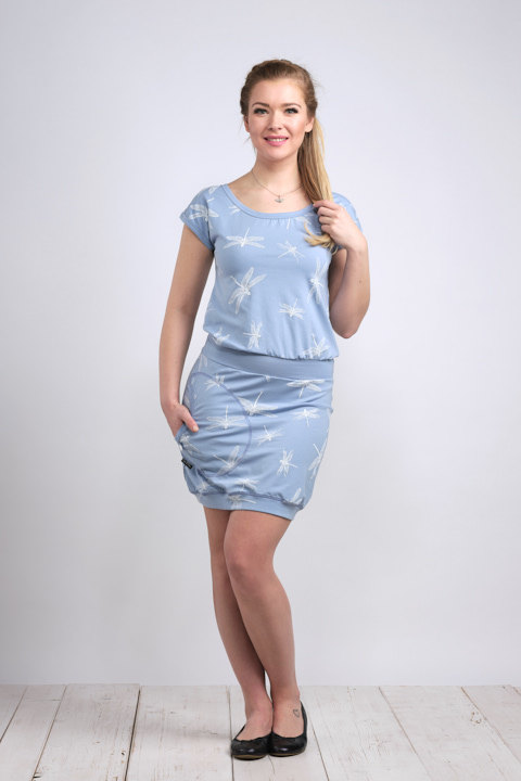 Dress Bali Ice Blue/White Dragonfly