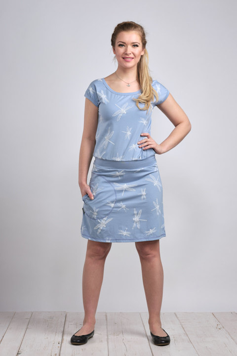 Dress Bell Ice Blue/White Dragonfly