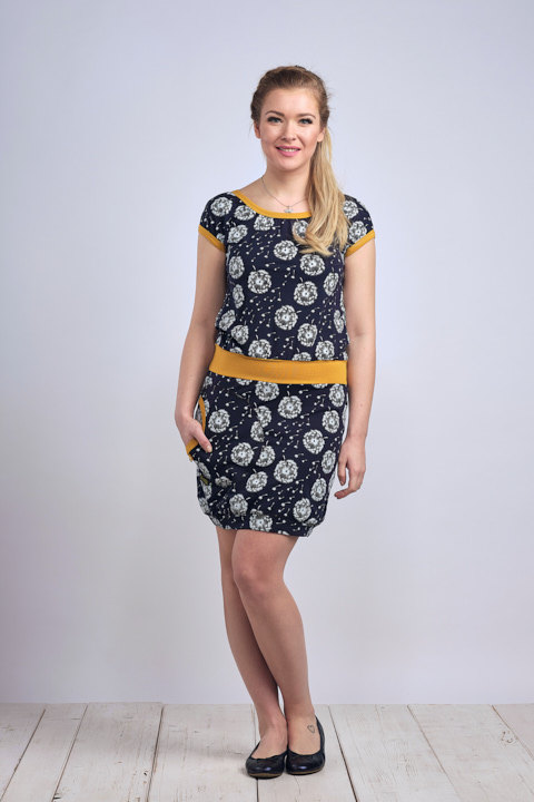Dress Bali Blue/White Dandelions Fluff and Mustard