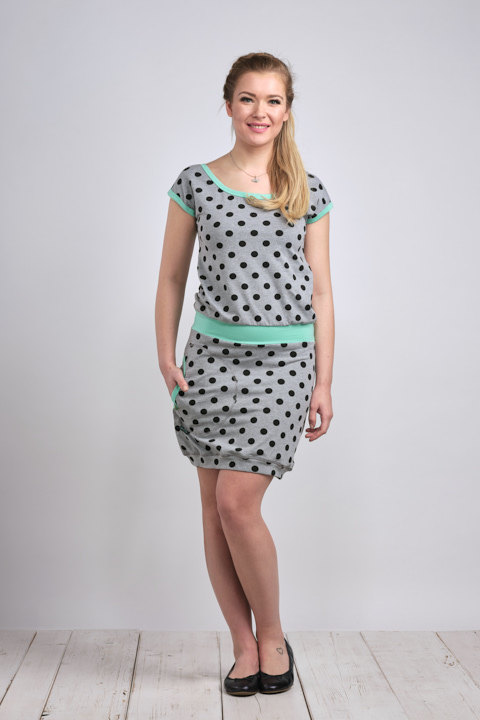 Dress Bali Gray/Black Dots and Mint