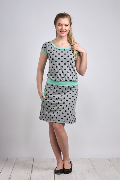 Dress Bell Gray/Black Dots and Mint-SLEVA