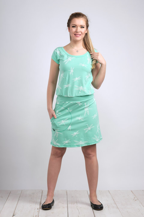 Dress Bell Mint/White Dragonfly