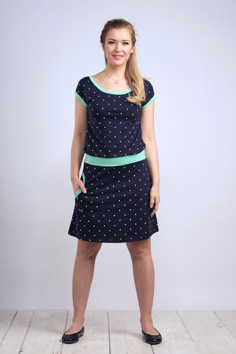 Dress Bell Dark Blue/White Big Dots and Mint-SLEVA