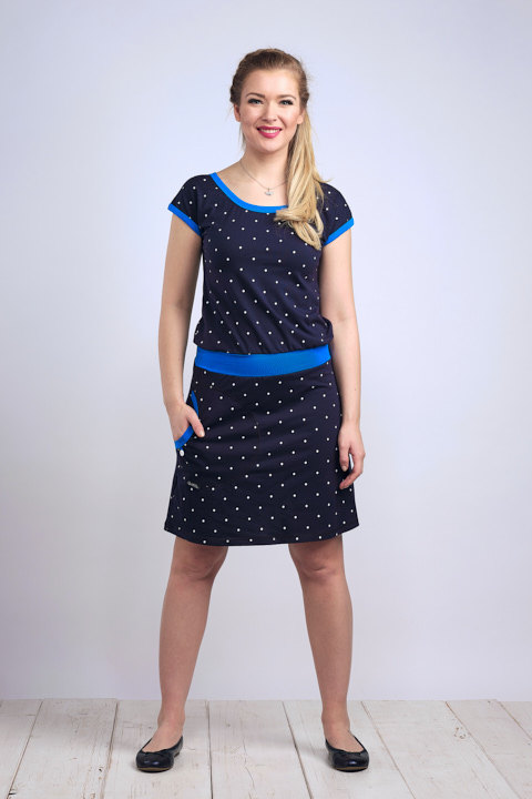 Dress Bell Dark Blue/White Big Dots and Royal Blue-SLEVA