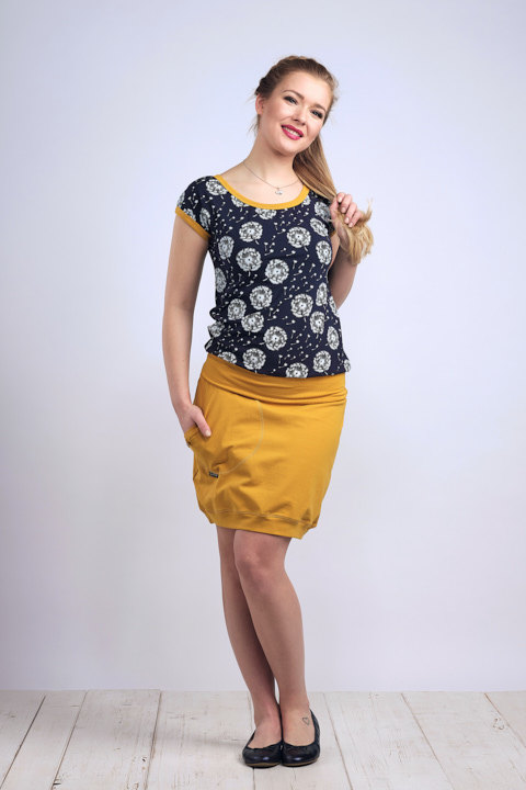 T-shirt Carri Blue/White Dandelions Fluff and Mustard