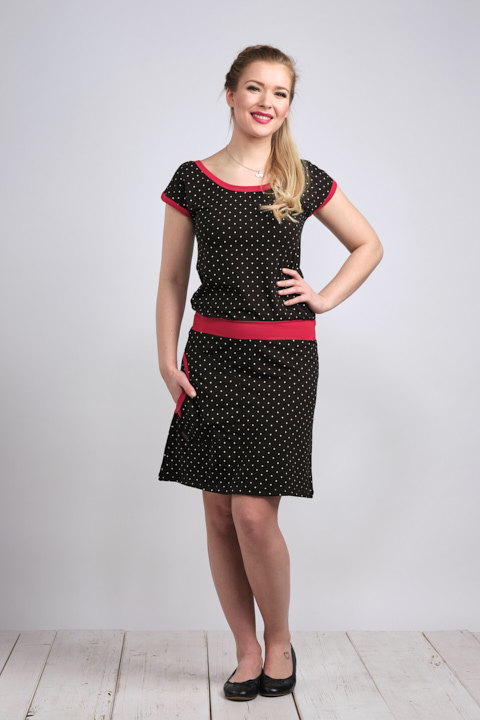 Dress Bell Black/White Mini Dots and Red-SLEVA
