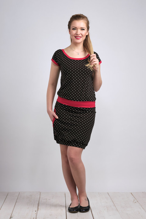 Dress Bali Black/White Mini Dots and Red