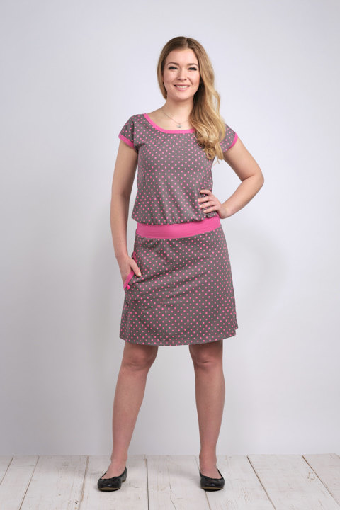 Dress Bell Dark Gray/Pink Dots and Pink-SLEVA