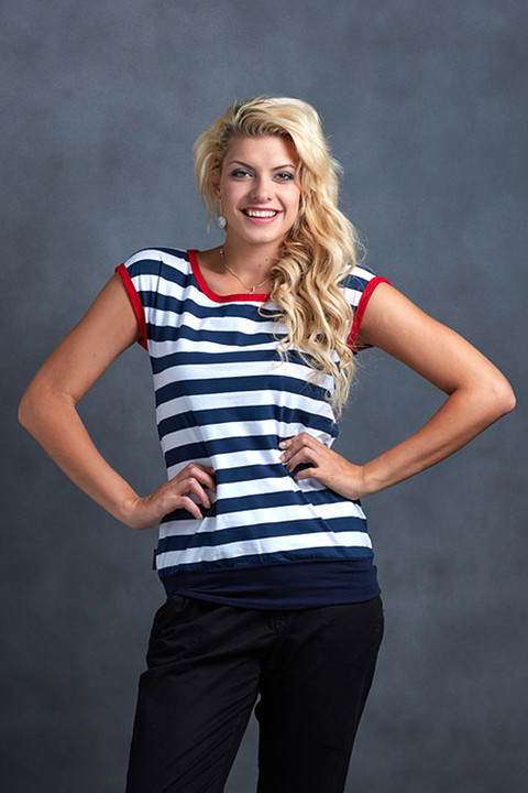 T-shirt Carri Blue/White Big Stripes and Red